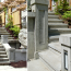 A diptych showing nicely-desisgned concrete stairs leading up from the sidewalk.