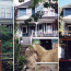 A triptych showing the progress of excavation and construction of a new foundation under a 19th century house on a steep hill.