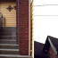 A diptych showing a concrete staircase with a brick wall, and looking up at a brick chimney.