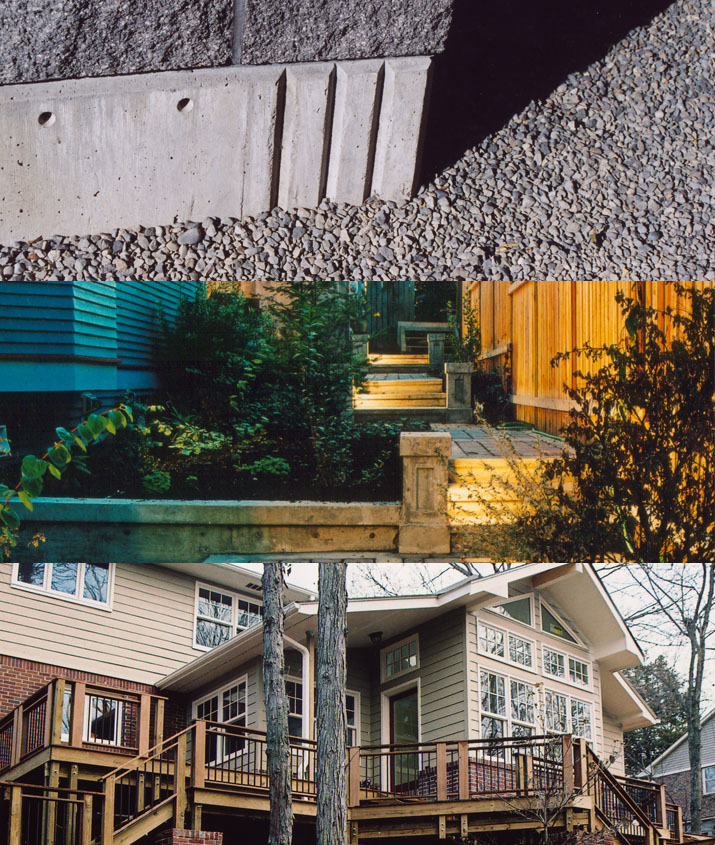 A triptych of projects by Michael Quirk: A close up of a concrete foundation, an illuminated walkway, and a sunroom and deck renovation.