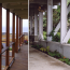 A diptych showing the side deck looking toward the ocean, and a walkway under the deck.