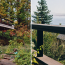 A diptych showing a nicely designed modern deck on a house with landscaping in front, and view of puget sound over the railing of the deck.